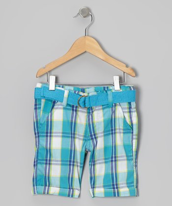 Blue Skittle Plaid Shorts - Girls