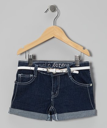 Dark-Wash Belted Denim Shorts - Girls