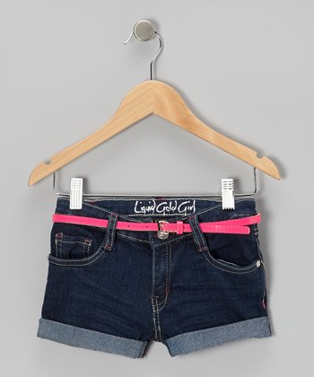 Orange Dark-Wash Denim Shorts - Girls