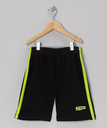 Lime & Black Track Shorts - Boys