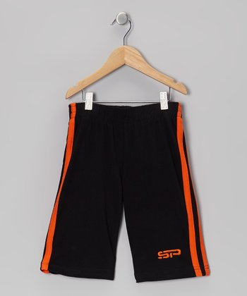 Orange & Black Track Shorts - Boys