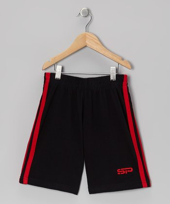 Red & Black Track Shorts - Boys