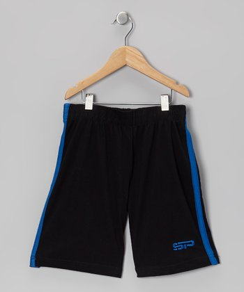 Royal Blue & Black Track Shorts - Boys