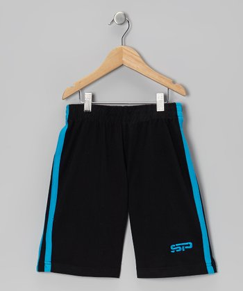 Turquoise & Black Track Shorts - Boys