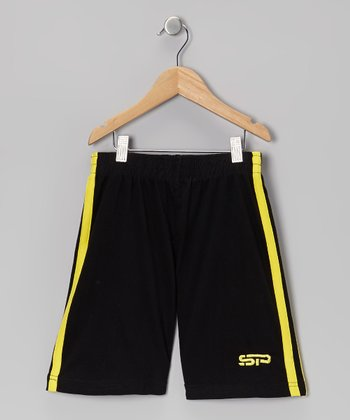 Yellow & Black Track Shorts - Boys