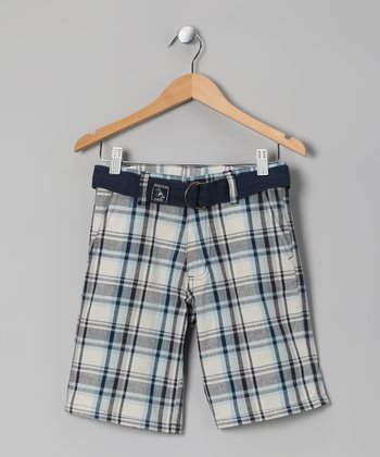 Navy Plaid American Hawk Shorts - Boys