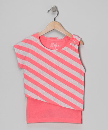 Pink & Gray Stripe Asymmetrical Layered Top - Girls