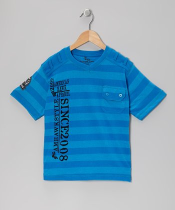 Blue Stripe V-Neck Tee - Boys