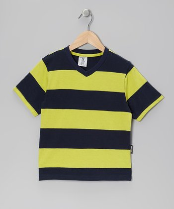 Green & Black Stripe V-Neck Tee - Boys