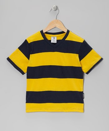 Yellow & Black Stripe V-Neck Tee - Boys