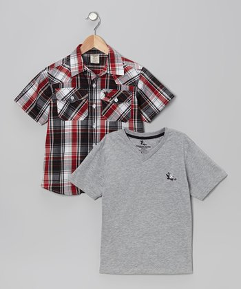 Red & Black Plaid Button-Up & Tee - Boys