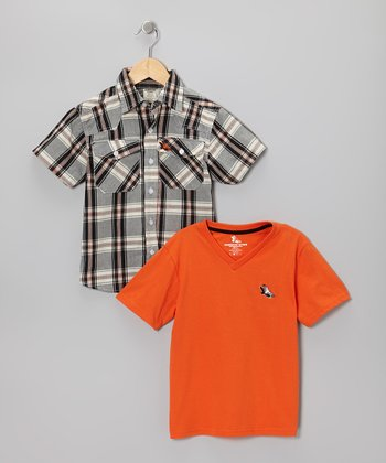 Black & Orange Plaid Button-Up & Tee - Boys