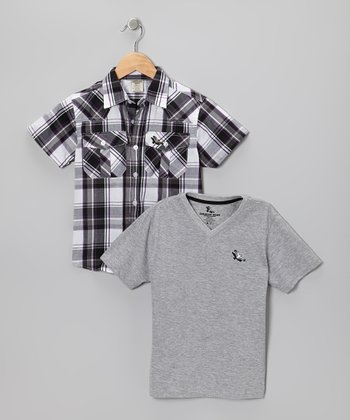 Black & Gray Plaid Button-Up & Tee - Boys