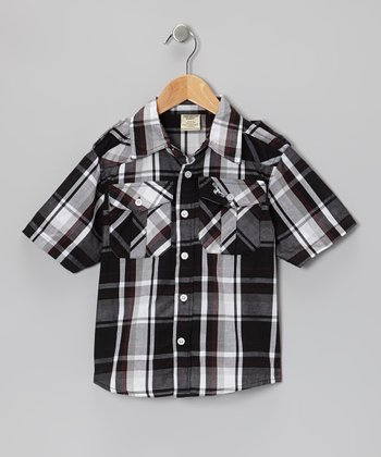 Black & Maroon Plaid Button-Up - Boys