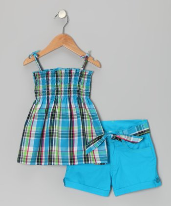 Aqua Plaid Swing Top & Shorts - Infant & Girls