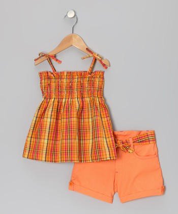 Orange Plaid Swing Top & Shorts - Infant, Toddler & Girls