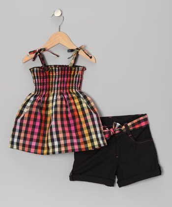 Black Checkerboard Swing Top & Shorts - Infant