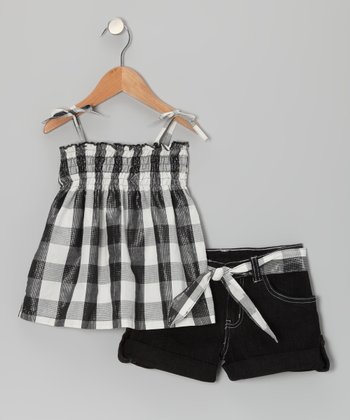 Black Plaid Swing Top & Shorts - Infant & Girls