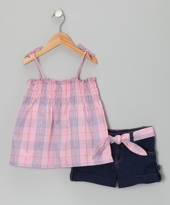 Pink & Navy Plaid Swing Top & Shorts - Infant & Girls