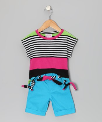 Red & Blue Sidetail Top & Shorts - Infant