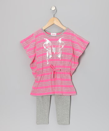 Orange Stripe Butterfly Top & Leggings - Infant, Toddler & Girls