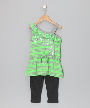 Green & Gray Stripe Star Top & Leggings - Infant, Toddler & Girls