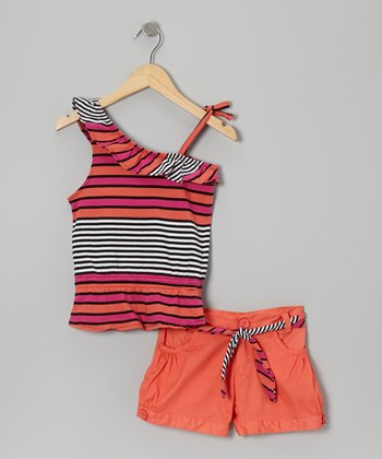 Mango & Black Stripe Asymmetrical Tank & Shorts - Toddler & Girls