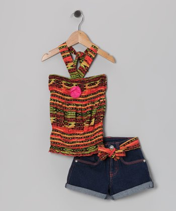 Orange & Black Halter Top & Denim Shorts - Girls