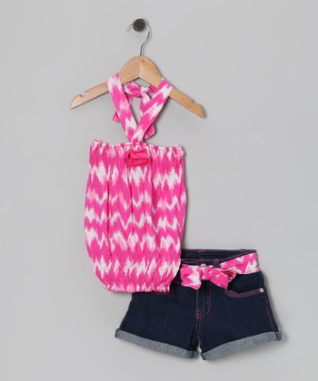 Pink Tie-Dye Halter Top & Denim Shorts - Girls