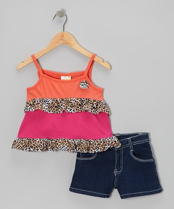 Orange & Pink Leopard Ruffle Tank & Denim Shorts - Girls