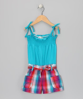Teal Plaid Smocked Romper - Infant