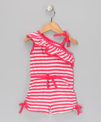 Coral Stripe Asymmetrical Romper - Infant, Toddler & Girls