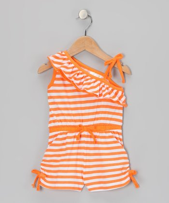 Orange Stripe Asymmetrical Romper - Infant, Toddler & Girls