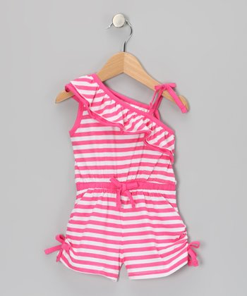 Pink Stripe Asymmetrical Romper - Infant, Toddler & Girls