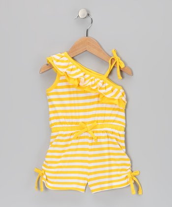Yellow Stripe Asymmetrical Romper - Infant, Toddler & Girls