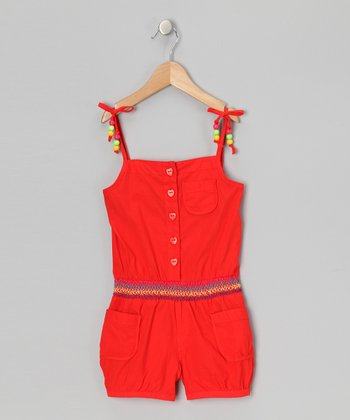 Orange Beaded Romper - Infant & Girls