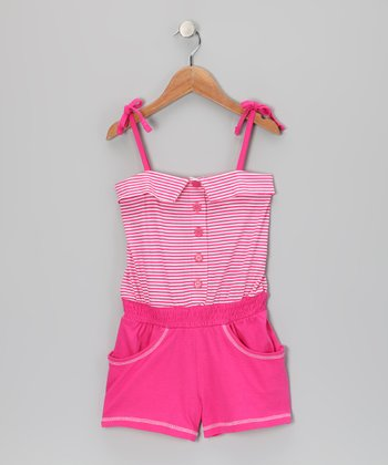 Pink Punk Stripe Button Romper - Infant