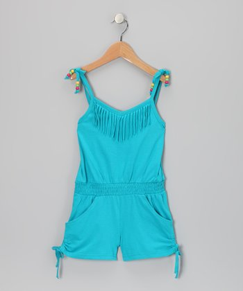 Pacific Blue Fringe Romper - Girls