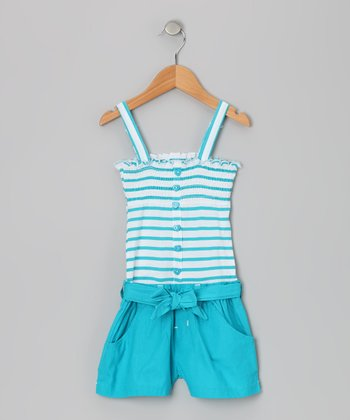 Pacific Blue Stripe Smocked Romper - Infant