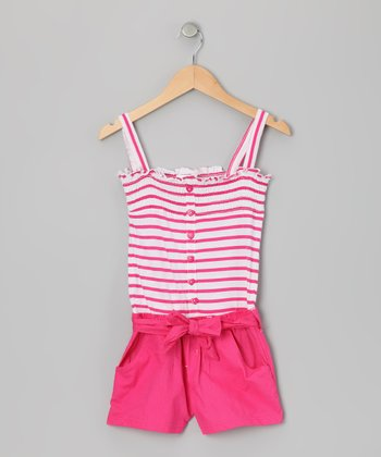 Pink Punk Stripe Smocked Romper -  Infant