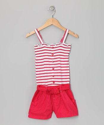 Red Stripe Smocked Romper - Infant