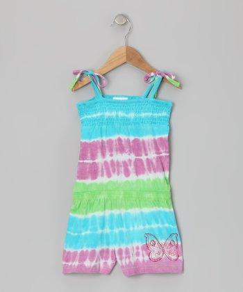 Green & Pink Tie-Dye Butterfly Romper - Girls
