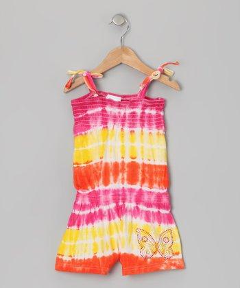 Pink & Coral Tie-Dye Butterfly Romper - Girls