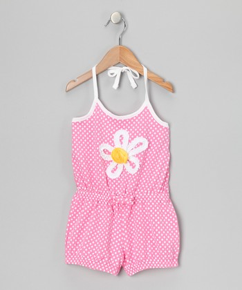 Pink Polka Dot Daisy Romper - Girls