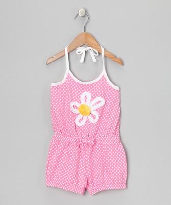 Pink Polka Dot Daisy Romper - Girls