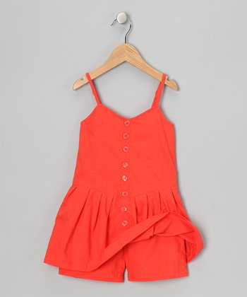 Mango Tango Button-Up Romper - Girls