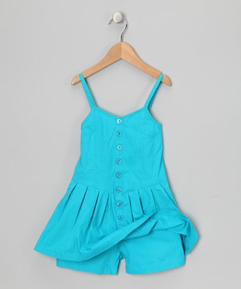 Pacific Blue Button-Up Romper - Girls