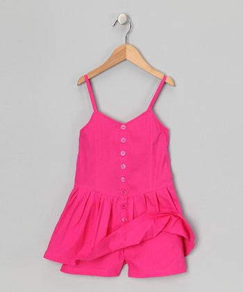 Pink Punk Button-Up Romper - Girls