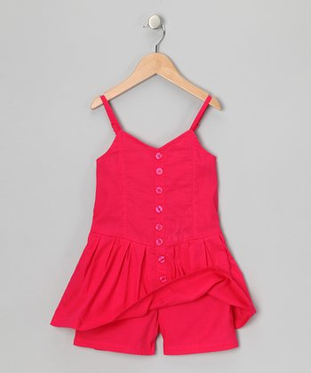 Pinup Red Button-Up Romper - Girls
