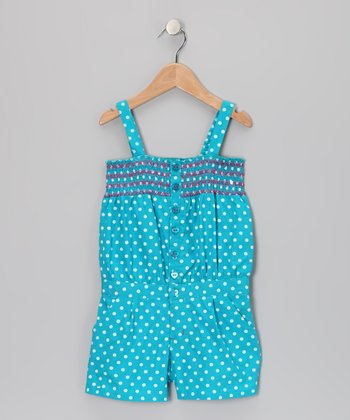 Pacific Blue Polka Dot Romper - Infant & Girls